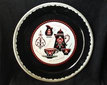 Vintage Kitschy Metal Tray black red kaffee klatch retro kitchen