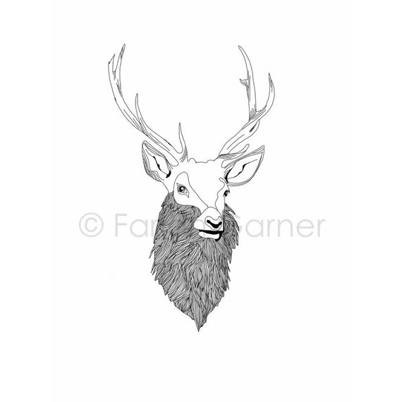 Line Art Etsy : Items similar to stag line drawing illustration on etsy