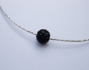 Choker with 925 silver pearl and black Shambala.