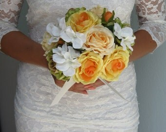 Wedding Accessory Bridal Bouquet Orange Yellow Green Roses