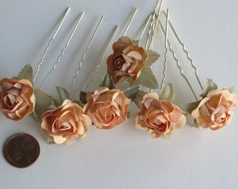 Set of 6 Flower Hair Pins - Wedding Hair Pins - Wedding Accessory-Bridal Flower Pins