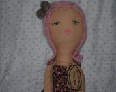 Molly doll in 100% cotton Japanese Fabric dress.
