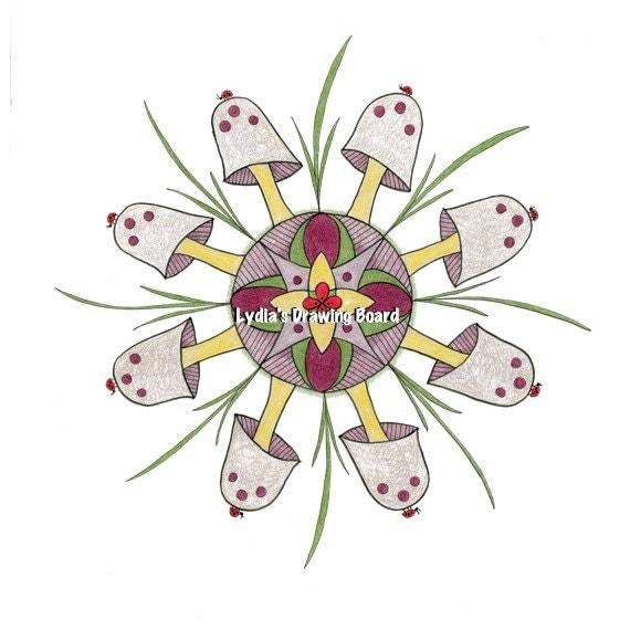 Mandala Art, Mandala Wall Art, Mandala Print, Mandala, Mushroom, Mushroom Art, Nature, Nature Art, Ladybug, Ladybug Art, Woodland Art
