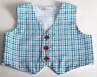 Plaid Boys Vest - Blue, Red Orange & White Cotton Plaid, Ringbearer Vest, Boy's Wedding Vest, Boy's Birthday Vest, Baptism Vest