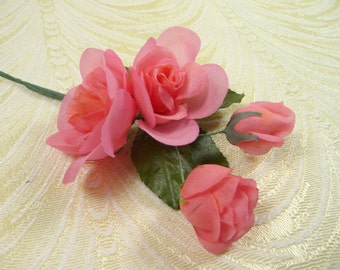 Coral Pink Rose Spray Vintage Silk Millinery Flowers Small for Corsage, Weddings, Hair Clips, Head Bands, Bouquets 4FV0165CR