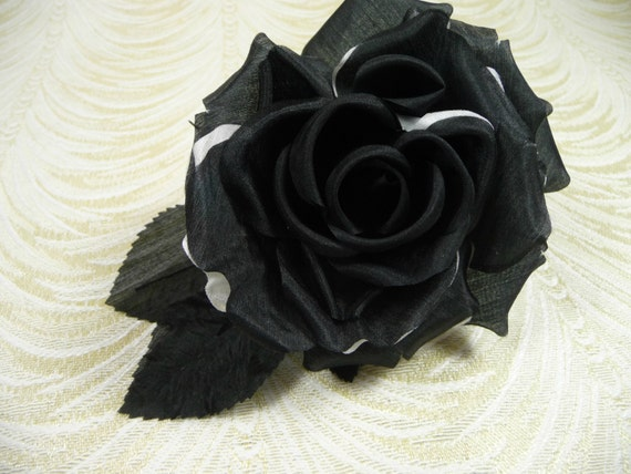 Two Tone Silk Rose Black White Millinery Flower For Hats