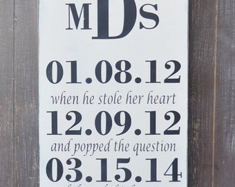 Custom Wood Wedding Sign, Bridal Shower Gift, Wedding Gift, Anniversary gift,, Engagement Gift, Important Date Sign