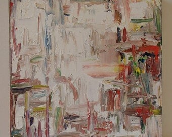 White Abstract Painting, Oil on canvas, Red, blue, white, Modern Art, texture