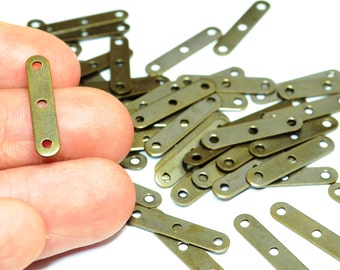 100 Pcs Antique Brass  4 x 18 mm 3 Holes Rectangle Connector Findings , Charms ,