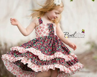 "Buy 2 Get 1 Free...Sasha Triple Ruffle Reverse Knot Girls Dress Instant Download PDF Sewing Pattern, 3-6M to 10 Plus 18"" doll"