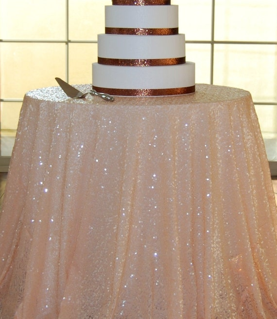 Peach Sequin Tablecloth Table Runner Overlay By