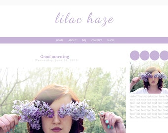 Simple Blogger Template - Minimal Template - Lilac Haze  - Instant Download