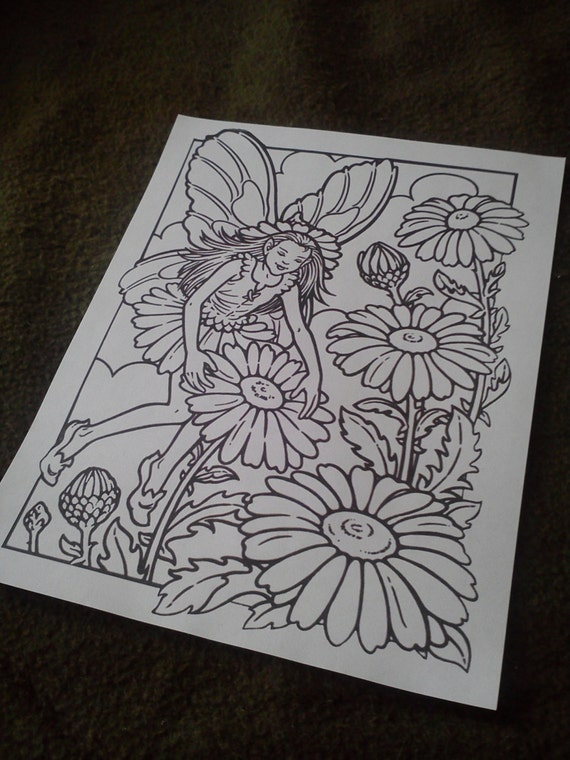 items similar to woodland fairy coloring page on etsy. Black Bedroom Furniture Sets. Home Design Ideas