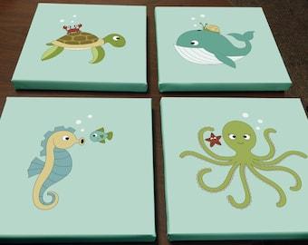Baby Sea Animals Canvas Prints