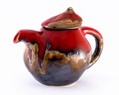 Coffee pot teapot kettle pottery red pot ceramic stoneware pot - red brown - unique handmade pot