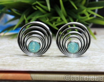 "Pair of cascading swarovski crystal plugs for gauges or stretched ears sizes 9/16"", 3/4"" 7/8""  20mm 22mm"