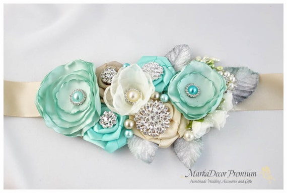 Bridal Sash / Custom Wedding Bridesmaids Belt in Ivory, Champagne, Aqua Mint Blue with Brooches, Beads, Pearls, Crystals, Jewels