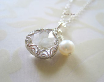 Summer White Necklace with Sterling Silver Chain, Bridesmaid Gifts