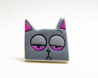 Grey stray cat brooch polymer clay
