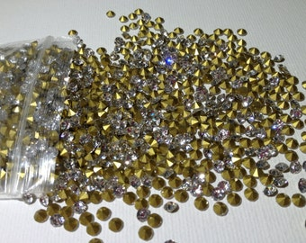 100pcs 3mm - SS12 Crystal Clear Glass Rhinestone Chatons Cone Back