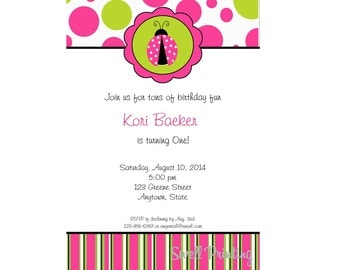 Ladybug Invitation Pink and Green, Ladybug Birthday Party Invitation Digital Invitation