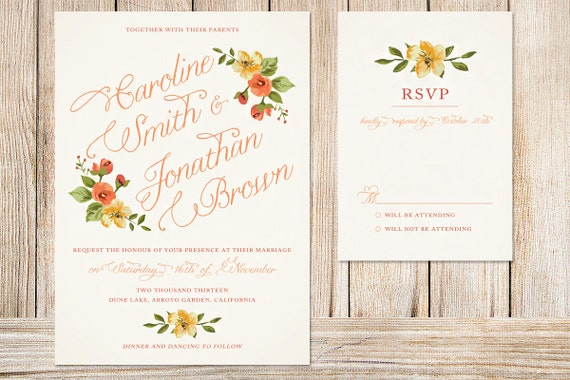 Fall Color Wedding Invitations: Printable Wedding Invitation And RSVP Card Fall By Plpapers