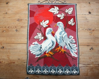 Lovely twist stitch/needle point embroidered wall hanging/wall tapastry with birds from Sweden