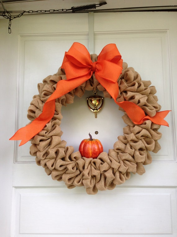 Items similar to light brown burlap thanksgiving wreath for Burlap wreath with lights