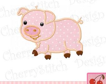 Piggy Hog Farm animal Machine Embroidery Applique Design -4x4 5x5 6x6 inch-