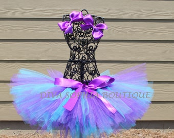 Purple and Turquoise Tutu with Two Bow Clips - Birthday Tutu- Tutu Set
