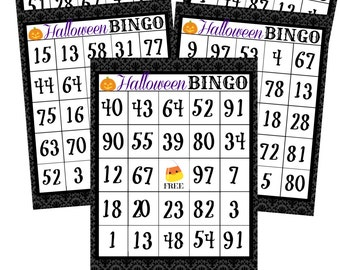 INSTANT DOWNLOAD Numbered Halloween BINGO Holiday Games Printable Download - Fun Family Party diy Memory Old Maid