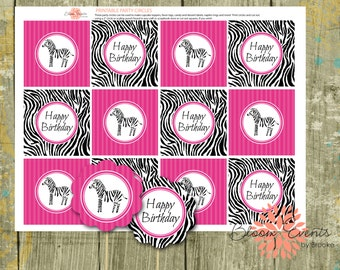 """Pink Zebra Party 2"""" Party Circles - Black and Hot Pick - INSTANT Download"""