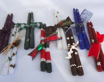 Christmas decor, painted Christmas taper candles, winter  taper candles, winter decor