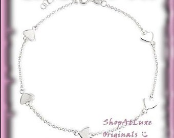 Couture Micro Hearts Traditional Link Bracelet In Silver