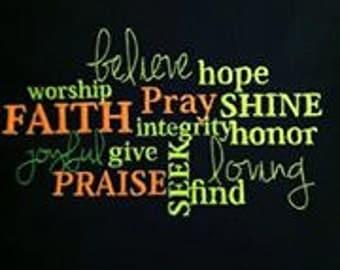 Worship Subway Art- Embroidery Design- Religion, Religious, Christian, Faith, Family, Honor, Love, God