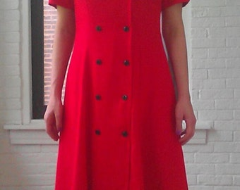 1980s Red Double Breasted Button Dress