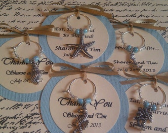 Custom Beach Themed Wine Charm Favors - Weddings, Bridal Shower, Rehearsal Dinner, Anniversary, Birthday Party, Dinner Party, Special Event