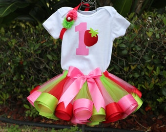 Strawberry Baby Girl 1st Birthday Outfit-Shirt w/ Pink Polka Dot #1 and Strawberry & Pink, Lime Green and Red Ribbon trim tutu, Headband