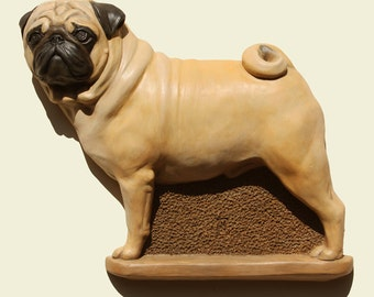 Hand painted fawn Pug dog Carlin Mops dog Carlino PERITAS wall sculpture statue fine art relief