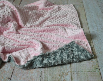 Blush Pink and Gray Blanket - Ultra Soft Minky Baby Blanket - Personalized Minky Blanket
