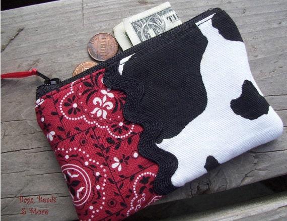 Cow Coin Purse, Red Bandana Change Purse