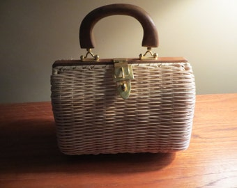 Vintage, Wicker, Purse with Wooden Handle