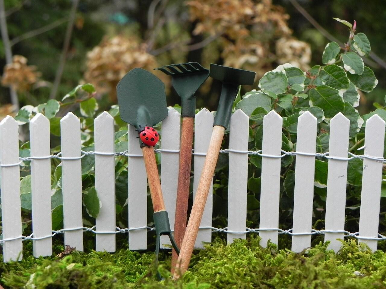 Miniature garden tools for fairy garden mini lady bug fairy for Miniature garden tools