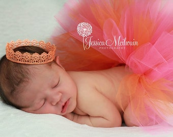 FAVOR Tutu Set: Super fluffy Newborn half tutu photo prop set with a Vintage inspired crown sparkled with glitters (custom color)