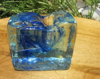 Vintage Blue Swirl Glass Pencil Holder