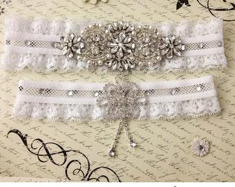 Wedding Garter Set, Bridal Garter, Pearl and Rhinestone Garter and Toss Garter Set, White Lace Garter Set, Lace Garters