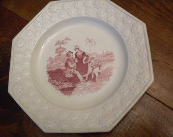 Creamware c 1830-40 Octagonal Embossed Border Plate - Country Scene - Family and Dog