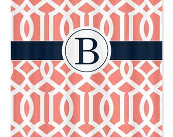 Preppy Imperial Trellis Shower Curtain-Circle Monogram-Navy Blue-Coral-White OR Choose Colors-Custom-Standard & Extra long sizes available