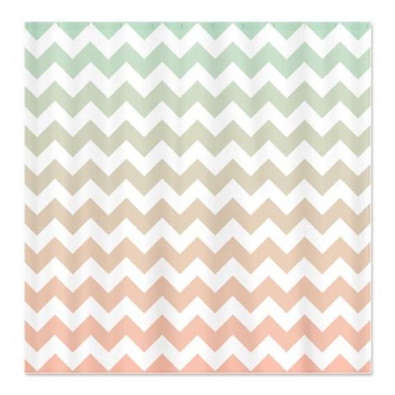 multi color chevron shower curtain. Like this item  Mint and Light Pink Custom Ombre Chevron Shower