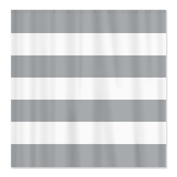 Large Striped Custom Shower Curtain Grey And White Stripes Or
